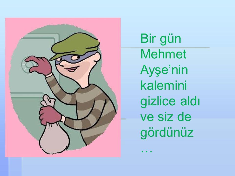 Bir gün Mehmet Ayşe'nin kalemini gizlice aldı ve siz de gördünüz …