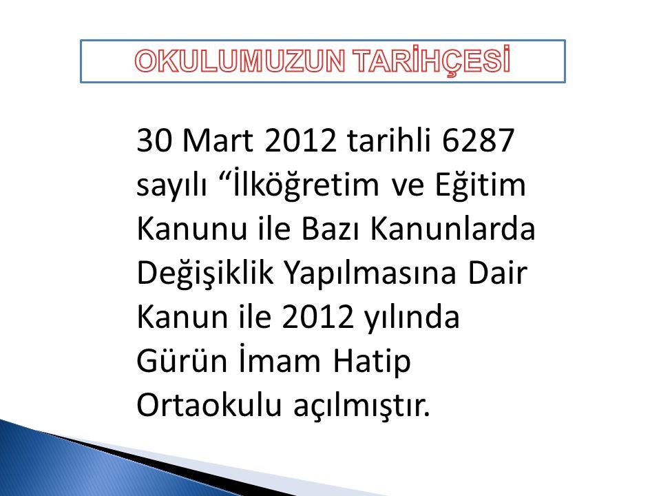 30 Mart 2012 tarihli 6287 sayılı İlköğretim ve Eğitim Kanunu ile Bazı Kanunlarda Değişiklik Yapılmasına Dair Kanun ile 2012 yılında Gürün İmam Hatip Ortaokulu açılmıştır.