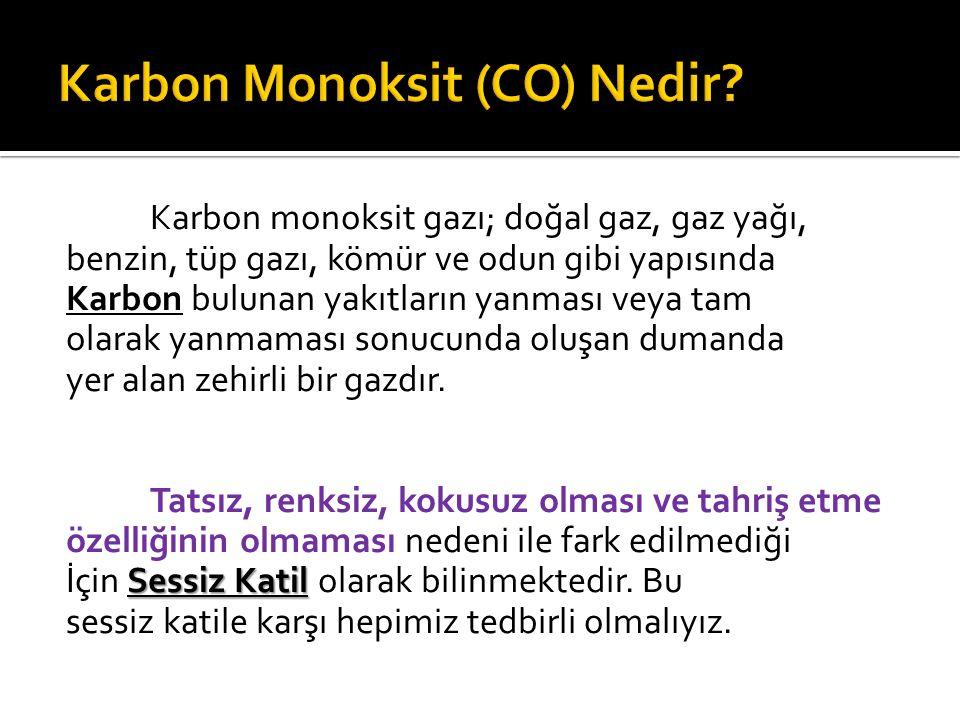 Karbon monoksit gazı; doğal gaz, gaz yağı, benzin, tüp gazı, kömür ve odun gibi yapısında Karbon bulunan yakıtların yanması veya tam olarak yanmaması sonucunda oluşan dumanda yer alan zehirli bir gazdır.