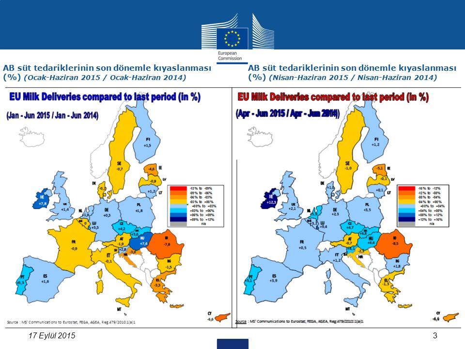 317 Eylül 2015 AB süt tedariklerinin son dönemle kıyaslanması (%) (Ocak-Haziran 2015 / Ocak-Haziran 2014) AB süt tedariklerinin son dönemle kıyaslanması (%) (Nisan-Haziran 2015 / Nisan-Haziran 2014)