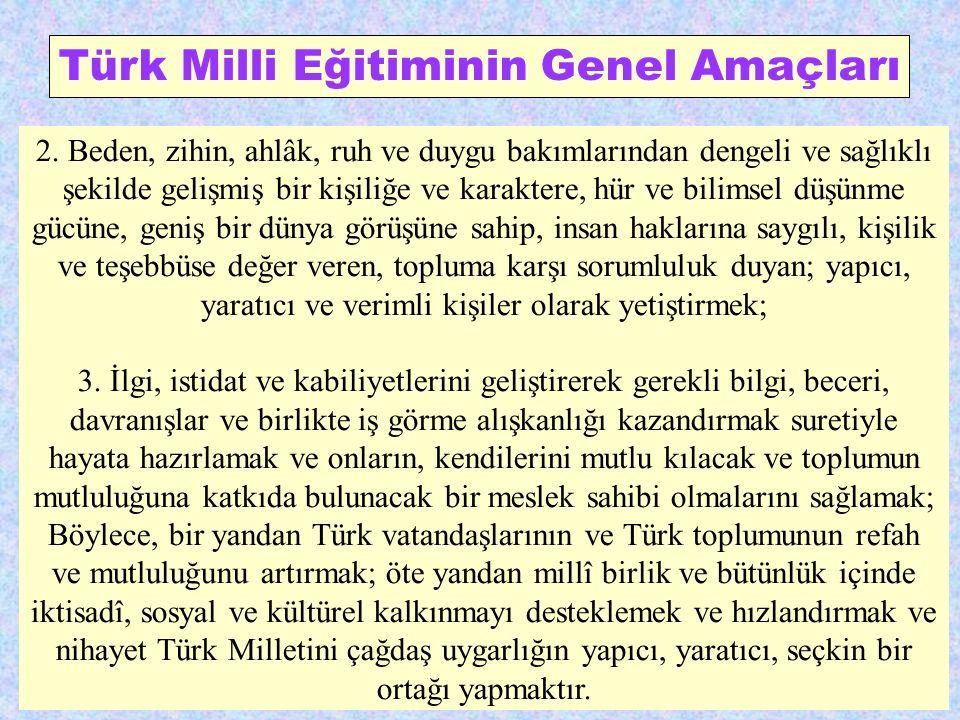 Türk Milli Eğitiminin Genel Amaçları 2. Beden, zihin, ahlâk, ruh ve duygu bakımlarından dengeli ve sağlıklı şekilde gelişmiş bir kişiliğe ve karaktere