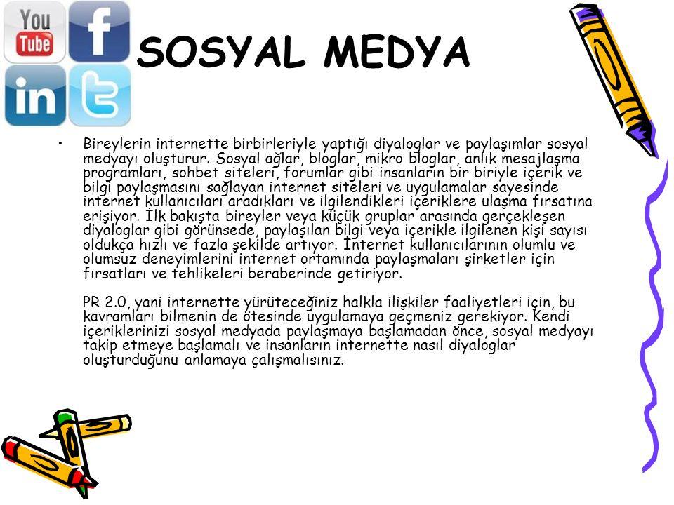 SOSYAL MEDYA Bireylerin internette birbirleriyle yaptığı diyaloglar ve paylaşımlar sosyal medyayı oluşturur. Sosyal ağlar, bloglar, mikro bloglar, anl