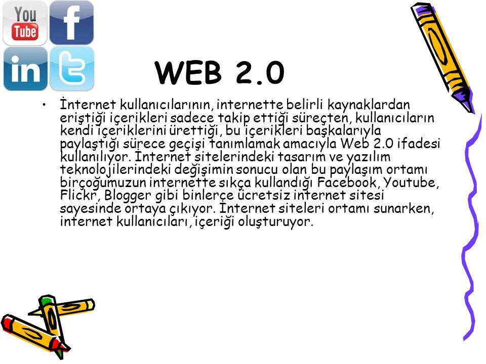 WEB 2.0 İnternet kullanıcılarının, internette belirli kaynaklardan eriştiği içerikleri sadece takip ettiği süreçten, kullanıcıların kendi içeriklerini ürettiği, bu içerikleri başkalarıyla paylaştığı sürece geçişi tanımlamak amacıyla Web 2.0 ifadesi kullanılıyor.