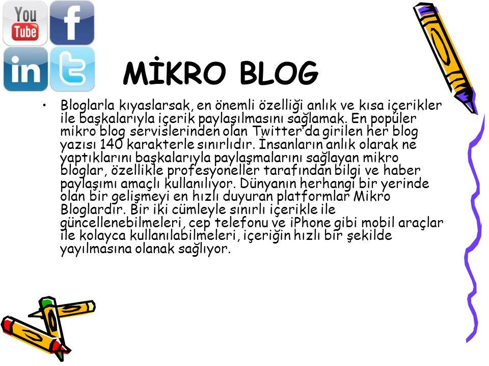 MİKRO BLOG Bloglarla kıyaslarsak, en önemli özelliği anlık ve kısa içerikler ile başkalarıyla içerik paylaşılmasını sağlamak. En popüler mikro blog se