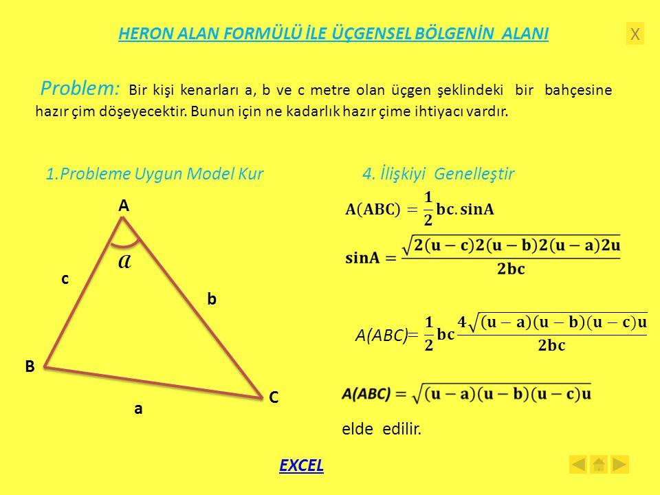 X HERON ALAN FORMÜLÜ İLE ÜÇGENSEL BÖLGENİN ALANI 1.Probleme Uygun Model Kur A C B a b c A 4.