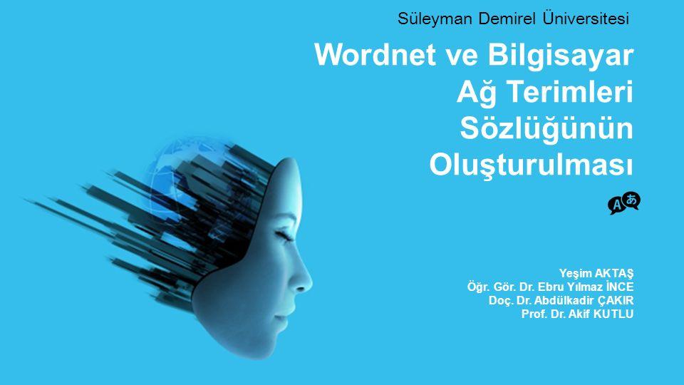 Süleyman Demirel Üniversitesi - AB16 Wordnet Pricenton Üniversitesi Bilişsel Bilimler Laboratuarı nda 1985 yılında Prof.
