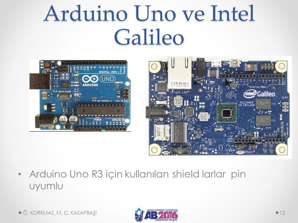 Arduino Uno ve Intel Galileo Arduino Uno R3 için kullanılan shield larlar pin uyumlu Ö. KORKMAZ, M. C. KASAPBAŞI12