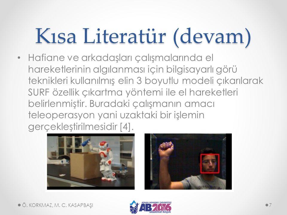 Kısa Literatür (devam) Hafiane ve arkadaşları çalışmalarında el hareketlerinin algılanması için bilgisayarlı görü teknikleri kullanılmış elin 3 boyutl