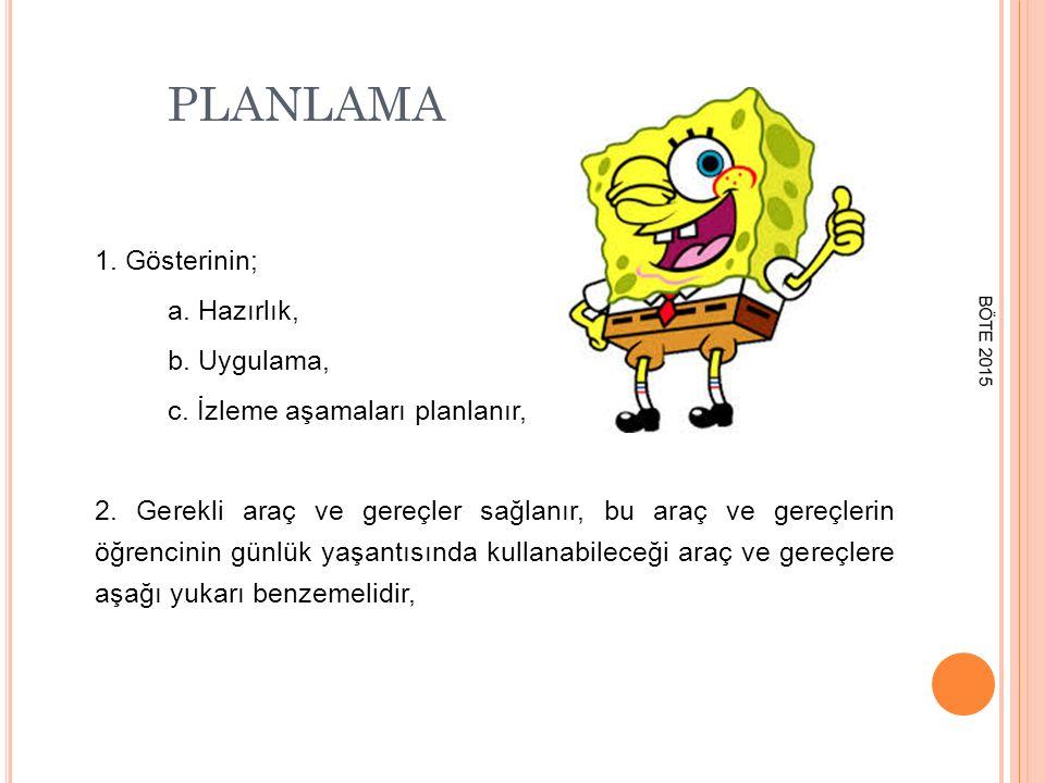 PLANLAMA 3.Gösteri basamaklarını gösteren bir plan öğrencinin görebileceği bir yerde yazar, 4.