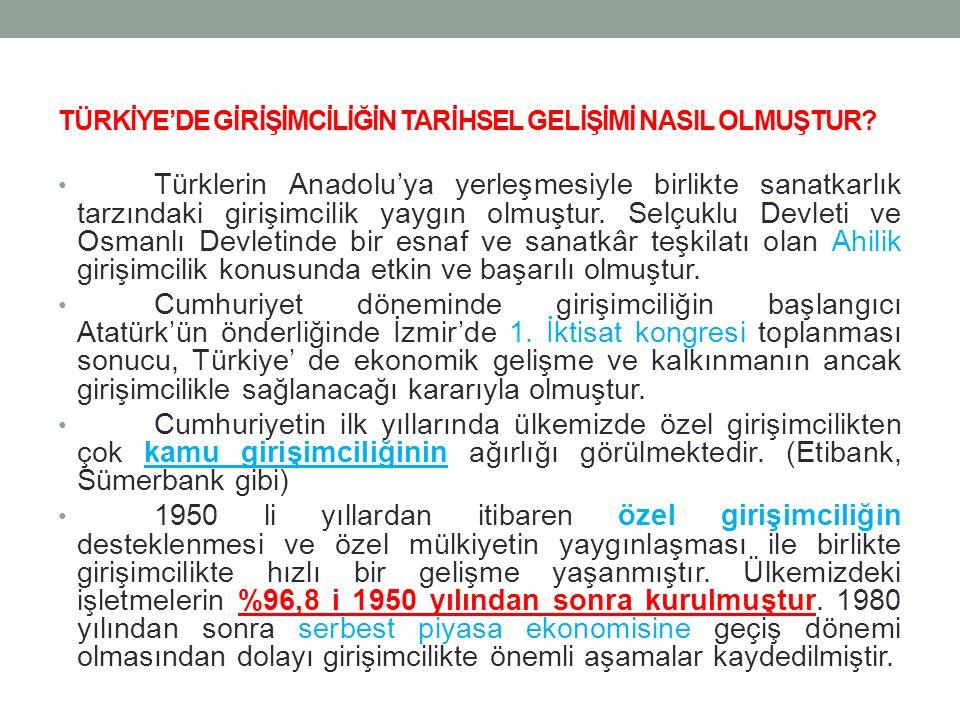 TÜRKİYE'DE GİRİŞİMCİLİĞİN TARİHSEL GELİŞİMİ NASIL OLMUŞTUR? Türklerin Anadolu'ya yerleşmesiyle birlikte sanatkarlık tarzındaki girişimcilik yaygın olm