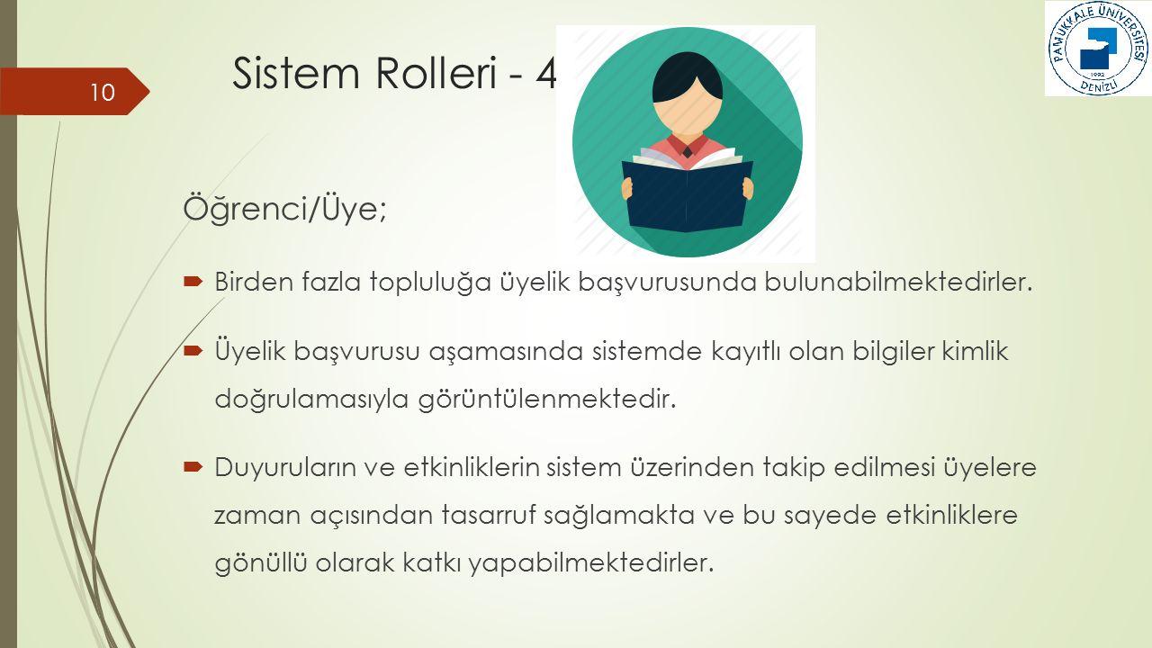 Sistem Rolleri - 4 10 Öğrenci/Üye;  Birden fazla topluluğa üyelik başvurusunda bulunabilmektedirler.