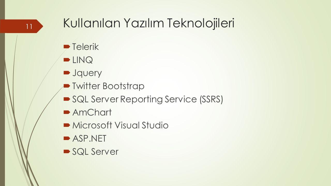 Kullanılan Yazılım Teknolojileri  Telerik  LINQ  Jquery  Twitter Bootstrap  SQL Server Reporting Service (SSRS)  AmChart  Microsoft Visual Studio  ASP.NET  SQL Server 11