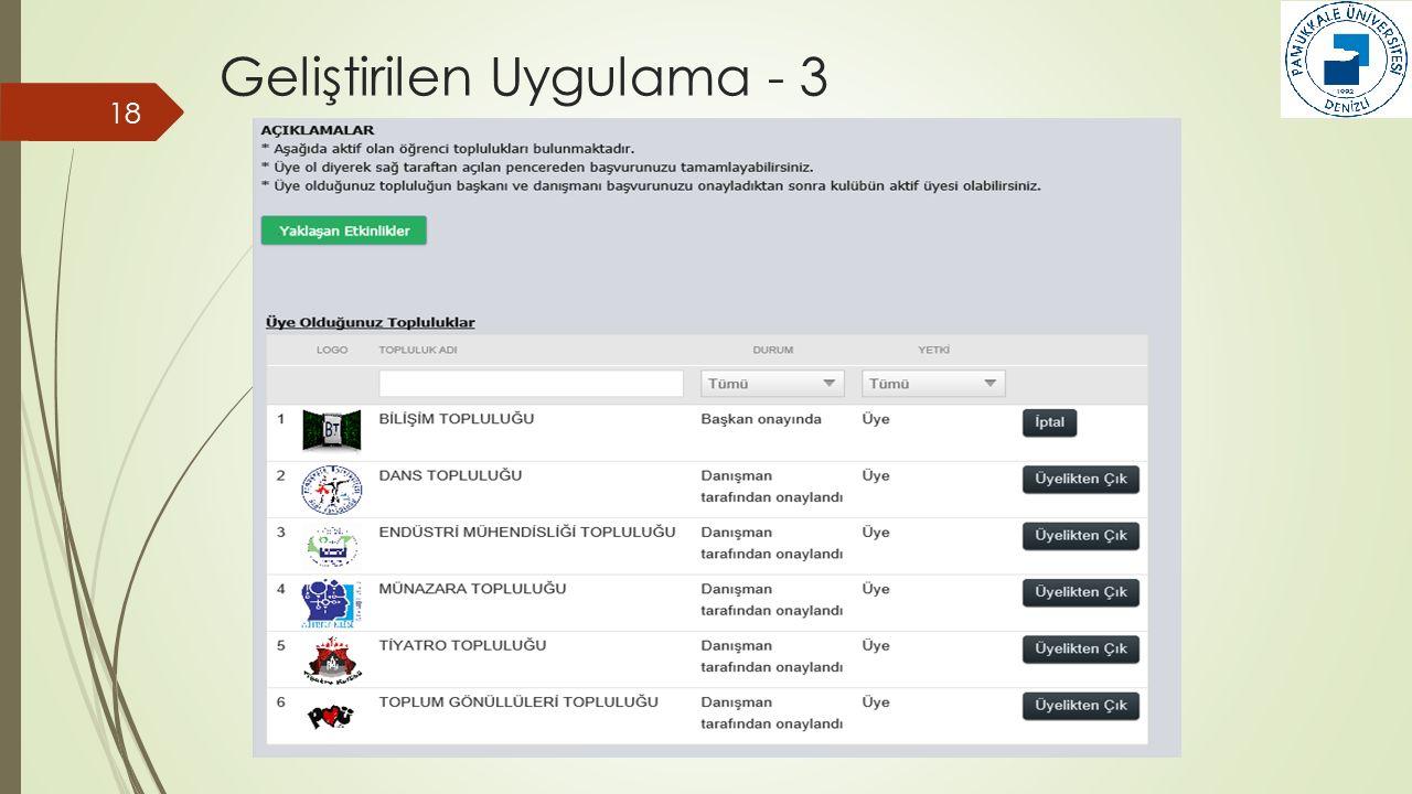 18 Geliştirilen Uygulama - 3