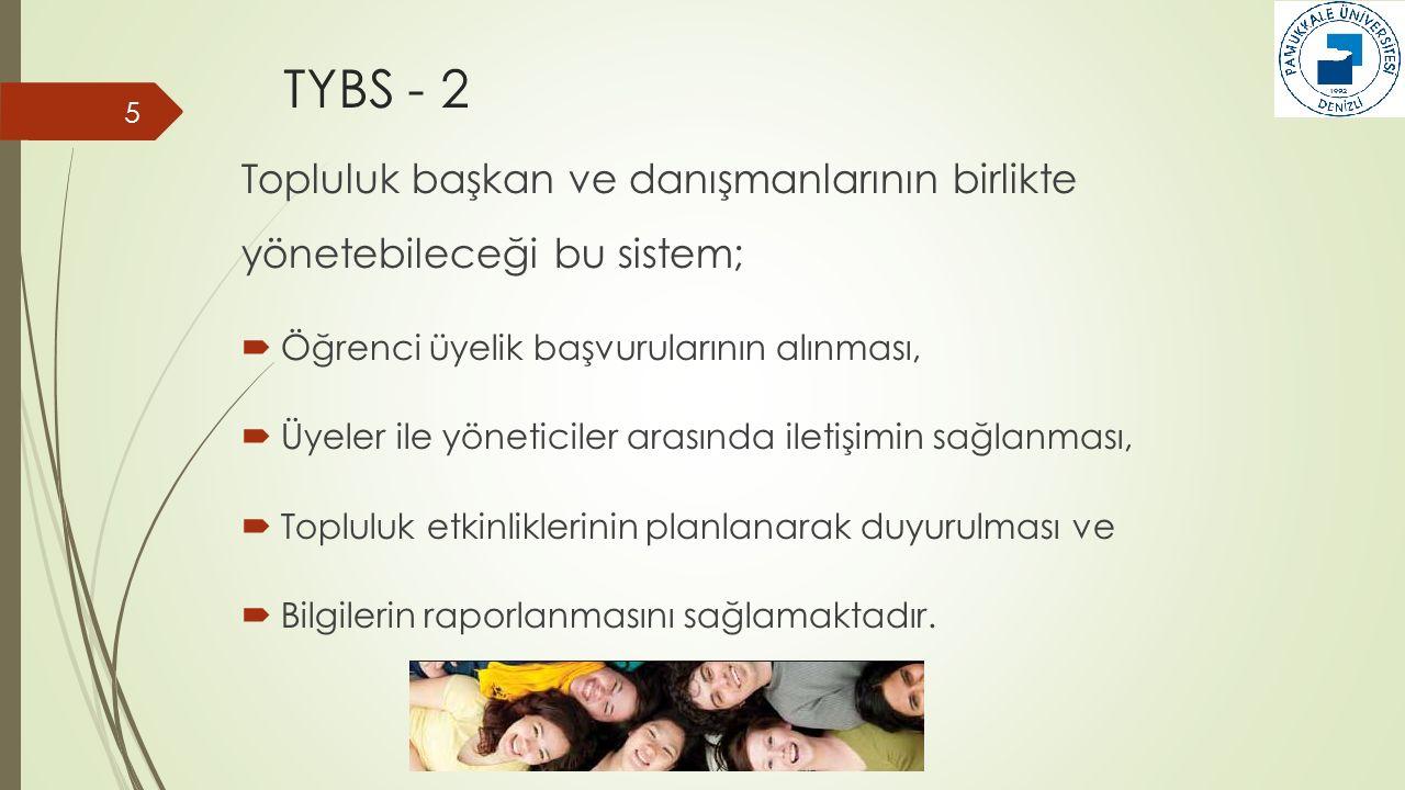 TYBS - 3  Toplulukların sistem üzerinde oluşturulması ve bu topluluklara yönetici atanmasına,  Etkinlik taleplerinin yapılıp etkinliklerin tamamlanmasının ardından değerlendirme formlarının ilgili idari birim yönetimine ulaştırılmasına kadar olan tüm süreci kapsayan bir sistem tasarlanmış ve web tabanlı olarak uygulamaya sunulmuştur.