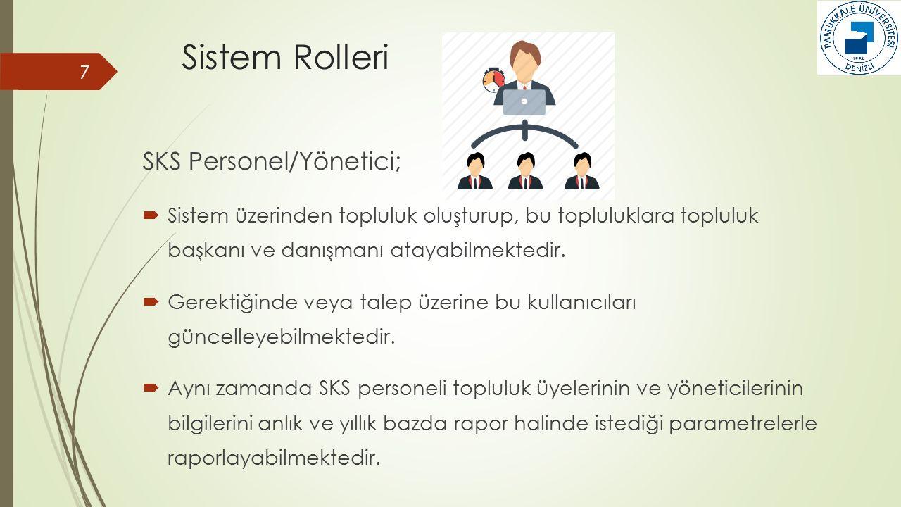 Sistem Rolleri 7 SKS Personel/Yönetici;  Sistem üzerinden topluluk oluşturup, bu topluluklara topluluk başkanı ve danışmanı atayabilmektedir.