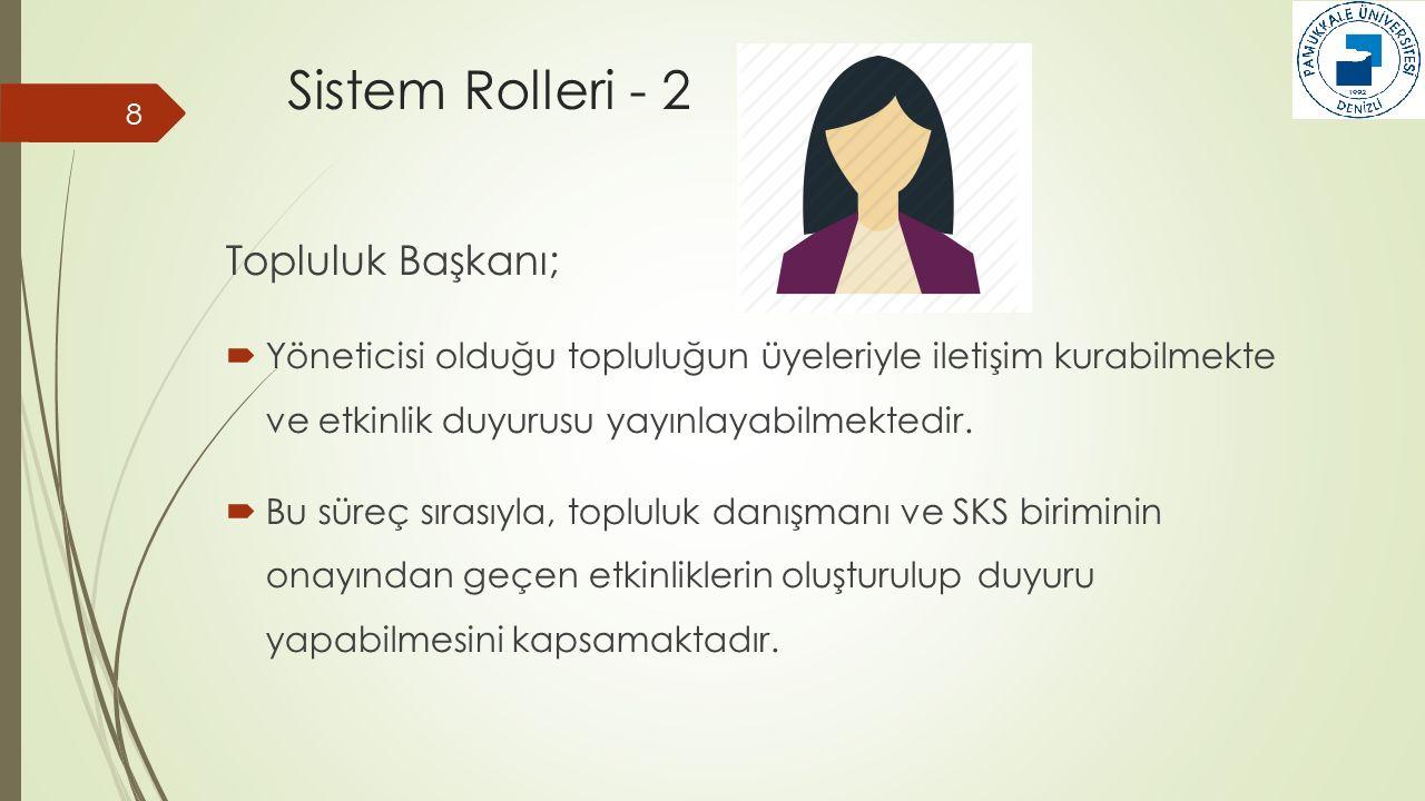 Sistem Rolleri - 3 9 Topluluk Danışmanı;  Üyelik başvurularının kabulü/reddi,  Üyelik silme ve etkinliklerin onaylanması işlemlerini yapabilmektedir.