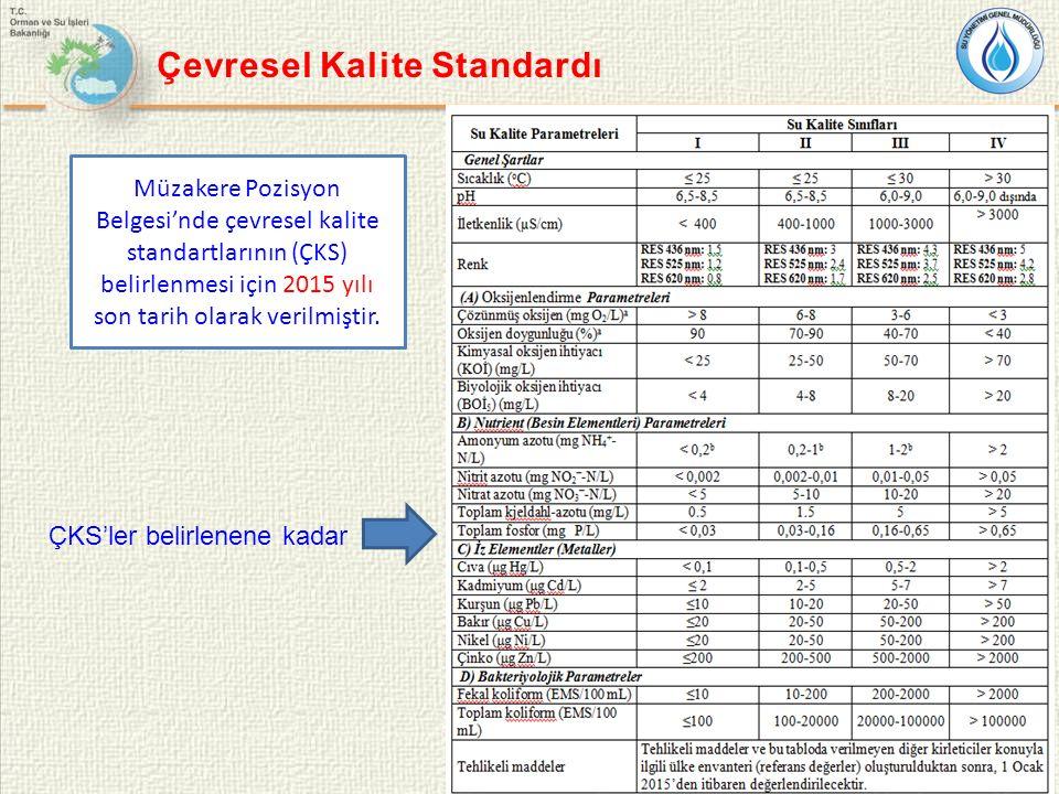 8 Çevresel Kalite Standardı ÇKS'ler belirlenene kadar Müzakere Pozisyon Belgesi'nde çevresel kalite standartlarının (ÇKS) belirlenmesi için 2015 yılı