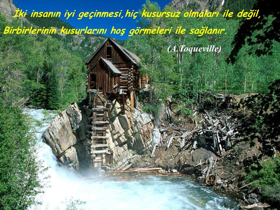İki insanın iyi geçinmesi,hiç kusursuz olmaları ile değil, Birbirlerinin kusurlarını hoş görmeleri ile sağlanır. (A.Toqueville)