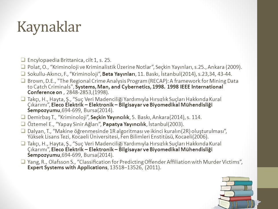 """Kaynaklar  Encylopaedia Brittanica, cilt 1, s. 25.  Polat, O., """"Kriminoloji ve Kriminalistik Üzerine Notlar"""", Seçkin Yayınları, s.25., Ankara (2009)"""