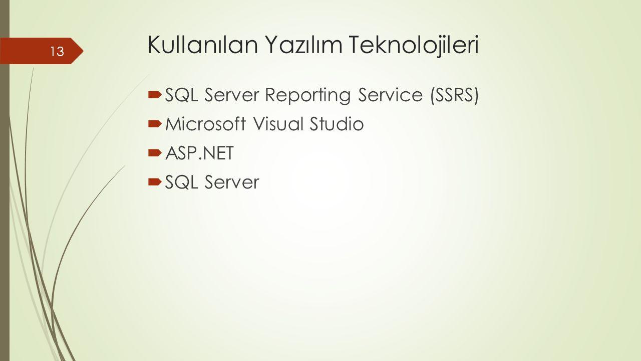 Kullanılan Yazılım Teknolojileri  SQL Server Reporting Service (SSRS)  Microsoft Visual Studio  ASP.NET  SQL Server 13
