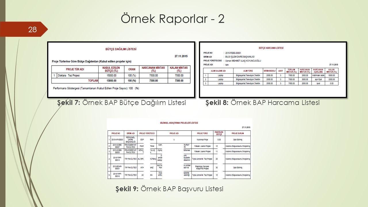 28 Şekil 7: Örnek BAP Bütçe Dağılım Listesi Şekil 8: Örnek BAP Harcama Listesi Şekil 9: Örnek BAP Başvuru Listesi Örnek Raporlar - 2