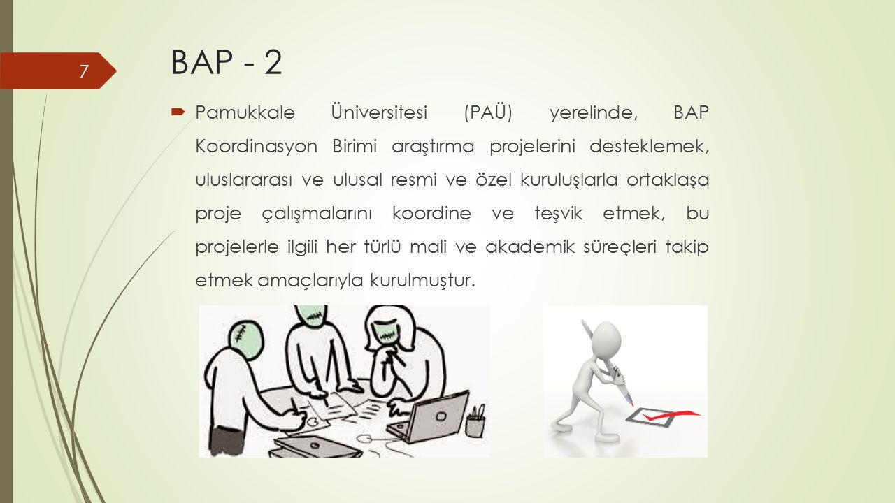 BAP - 2  Pamukkale Üniversitesi (PAÜ) yerelinde, BAP Koordinasyon Birimi araştırma projelerini desteklemek, uluslararası ve ulusal resmi ve özel kuru