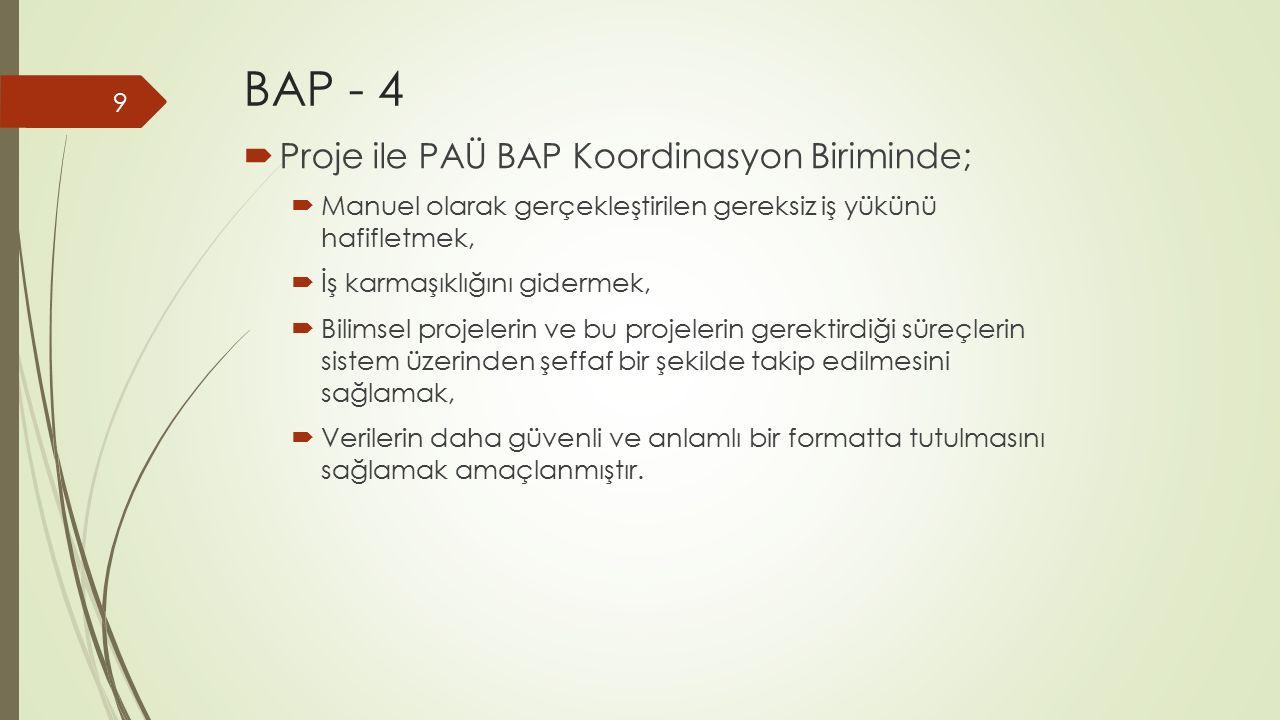 BAP - 4  Proje ile PAÜ BAP Koordinasyon Biriminde;  Manuel olarak gerçekleştirilen gereksiz iş yükünü hafifletmek,  İş karmaşıklığını gidermek,  B