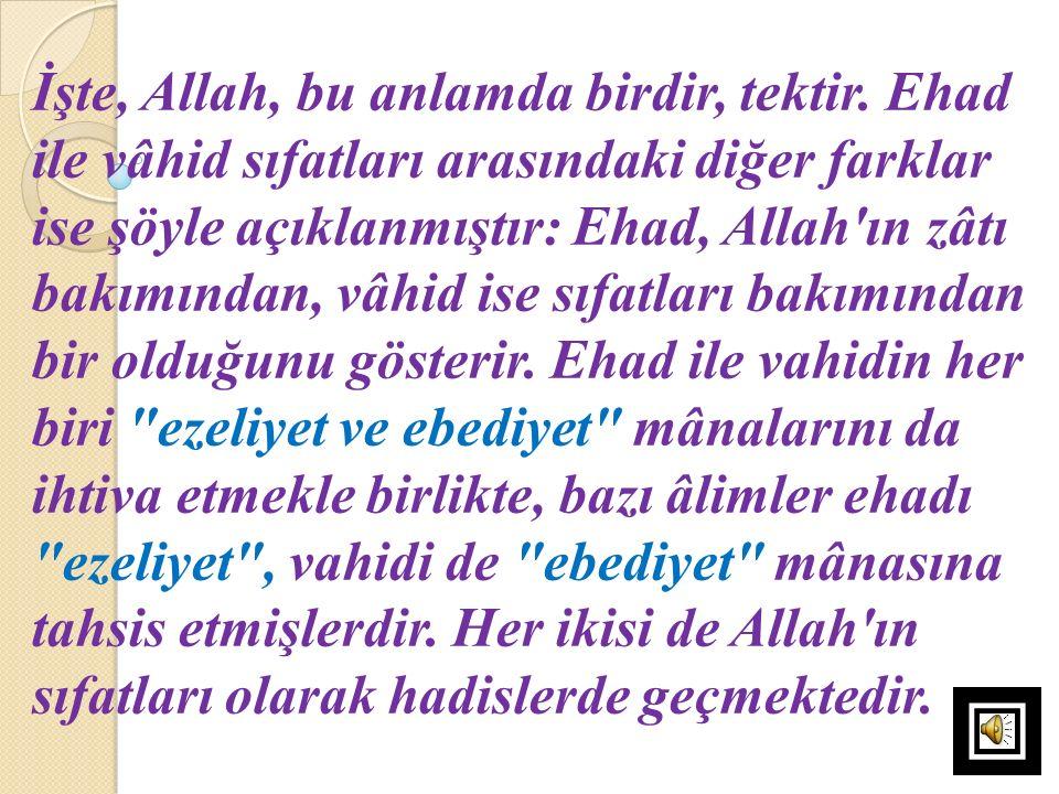 İşte, Allah, bu anlamda birdir, tektir. Ehad ile vâhid sıfatları arasındaki diğer farklar ise şöyle açıklanmıştır: Ehad, Allah'ın zâtı bakımından, vâh