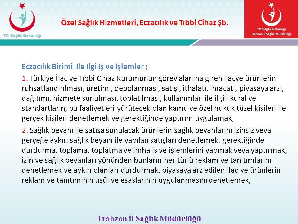 Özel Sağlık Hizmetleri, Eczacılık ve Tıbbi Cihaz Şb. Eczacılık Birimi İle İlgi İş ve İşlemler ; 1. Türkiye İlaç ve Tıbbî Cihaz Kurumunun görev alanına