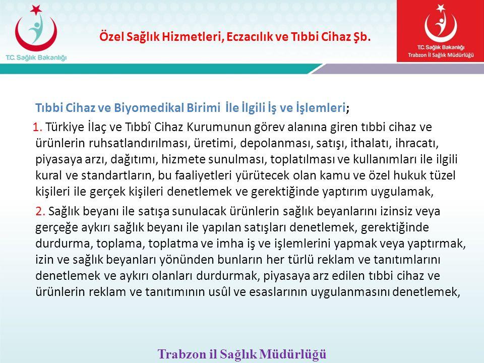 Özel Sağlık Hizmetleri, Eczacılık ve Tıbbi Cihaz Şb. Tıbbi Cihaz ve Biyomedikal Birimi İle İlgili İş ve İşlemleri; 1. Türkiye İlaç ve Tıbbî Cihaz Kuru