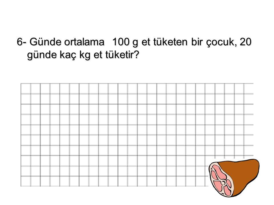 6- Günde ortalama 100 g et tüketen bir çocuk, 20 günde kaç kg et tüketir?