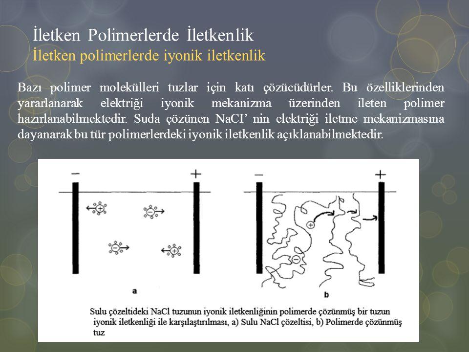 İletken Polimerlerde İletkenlik İletken polimerlerde iyonik iletkenlik Bazı polimer molekülleri tuzlar için katı çözücüdürler. Bu özelliklerinden yara