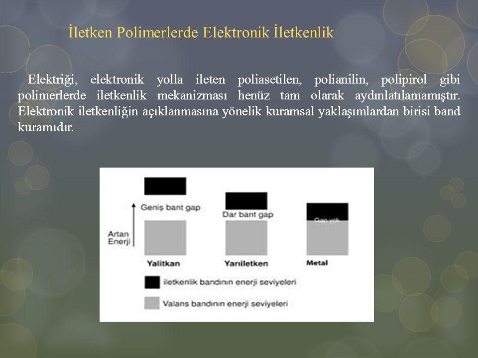 İletken Polimerlerde Elektronik İletkenlik Elektriği, elektronik yolla ileten poliasetilen, polianilin, polipirol gibi polimerlerde iletkenlik mekaniz