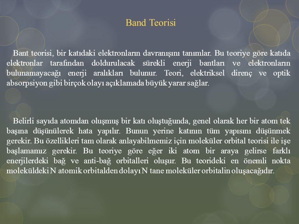 Band Teorisi Bant teorisi, bir katıdaki elektronların davranışını tanımlar. Bu teoriye göre katıda elektronlar tarafından doldurulacak sürekli enerji