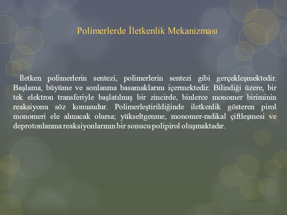 Polimerlerde İletkenlik Mekanizması İletken polimerlerin sentezi, polimerlerin sentezi gibi gerçekleşmektedir. Başlama, büyüme ve sonlanma basamakları
