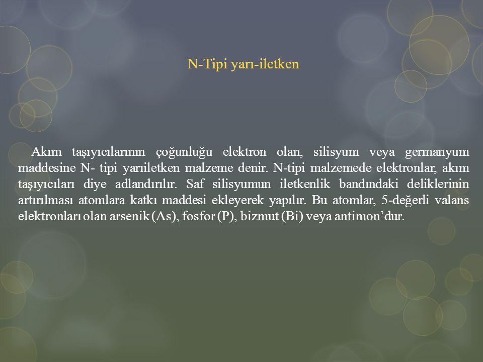 N-Tipi yarı-iletken Akım taşıyıcılarının çoğunluğu elektron olan, silisyum veya germanyum maddesine N- tipi yarıiletken malzeme denir. N-tipi malzemed