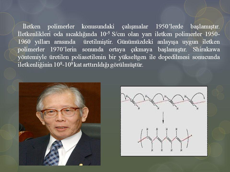 İletken polimerler konusundaki çalışmalar 1950'lerde başlamıştır. İletkenlikleri oda sıcaklığında 10 -5 S/cm olan yarı iletken polimerler 1950- 1960 y
