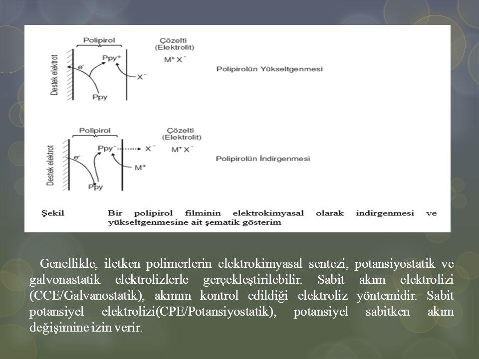 Genellikle, iletken polimerlerin elektrokimyasal sentezi, potansiyostatik ve galvonastatik elektrolizlerle gerçekleştirilebilir. Sabit akım elektroliz