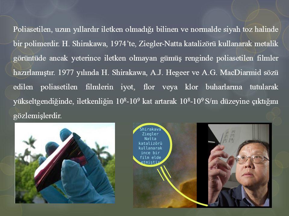 Poliasetilen, uzun yıllardır iletken olmadığı bilinen ve normalde siyah toz halinde bir polimerdir. H. Shirakawa, 1974'te, Ziegler-Natta katalizörü ku