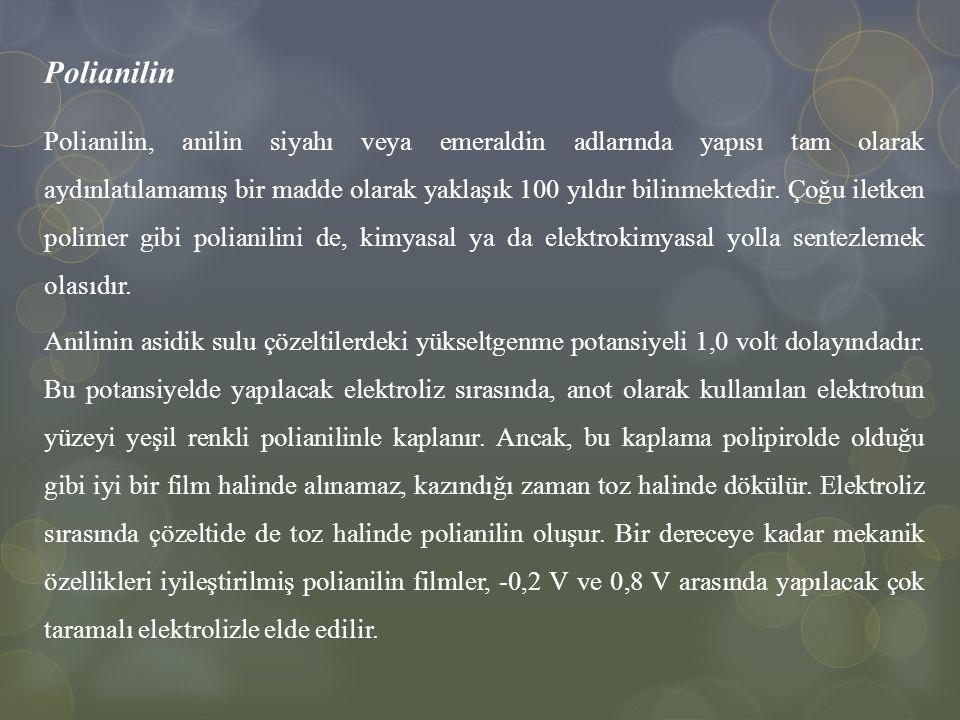 Polianilin Polianilin, anilin siyahı veya emeraldin adlarında yapısı tam olarak aydınlatılamamış bir madde olarak yaklaşık 100 yıldır bilinmektedir. Ç
