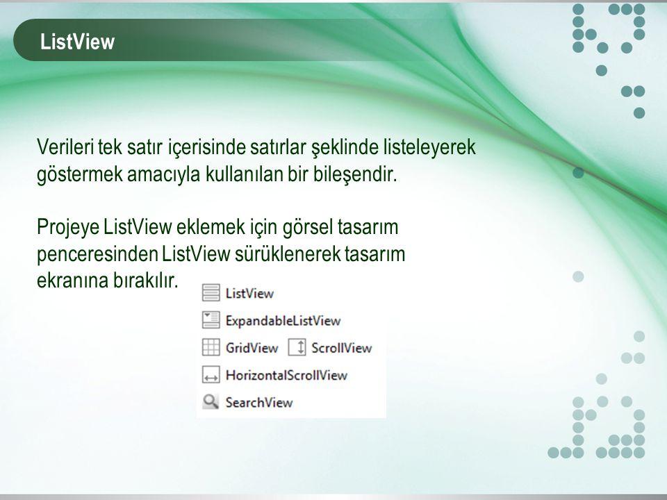 ListView Verileri tek satır içerisinde satırlar şeklinde listeleyerek göstermek amacıyla kullanılan bir bileşendir.