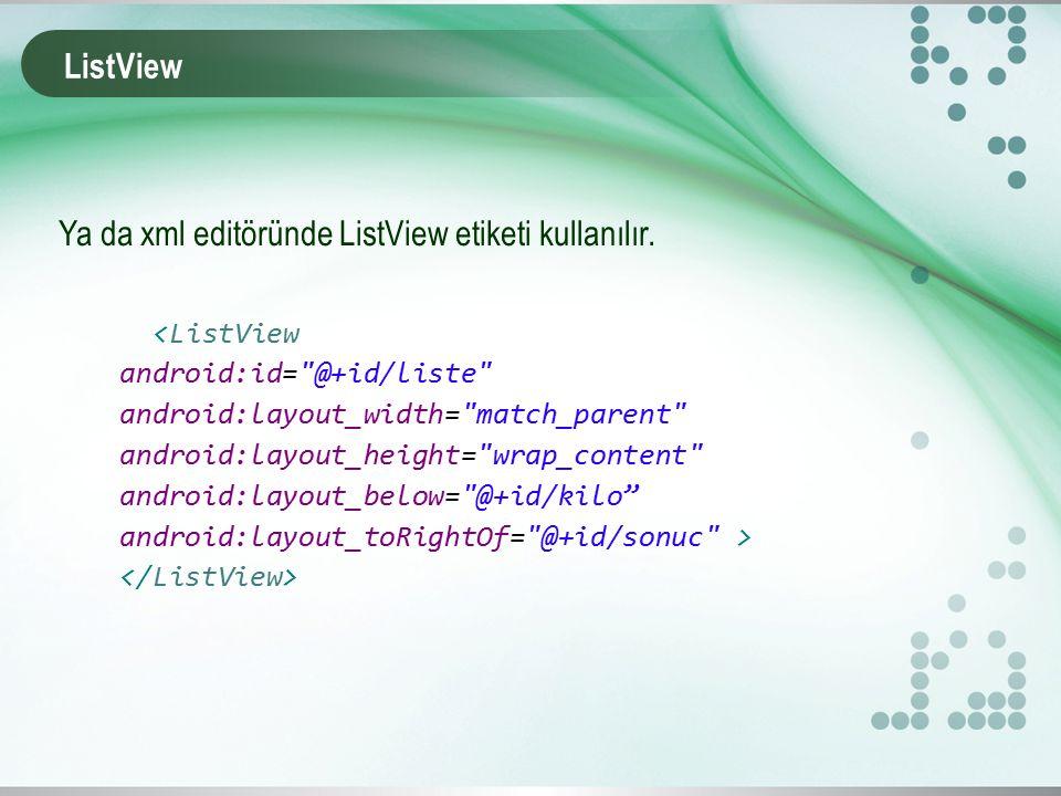 ListView Ya da xml editöründe ListView etiketi kullanılır.