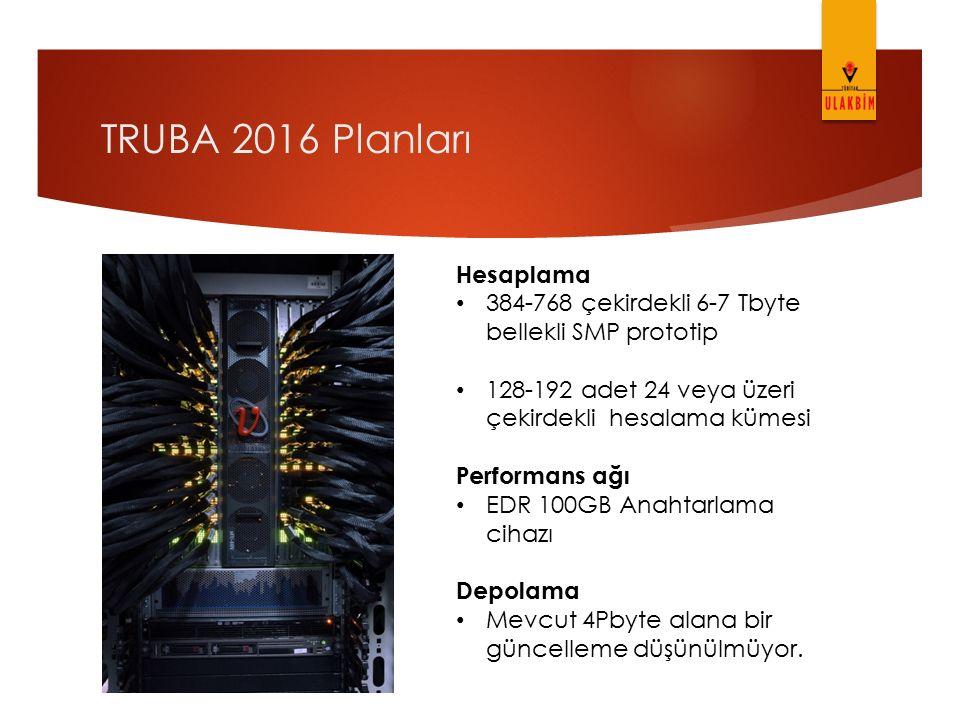 TRUBA 2016 Planları Hesaplama 384-768 çekirdekli 6-7 Tbyte bellekli SMP prototip 128-192 adet 24 veya üzeri çekirdekli hesalama kümesi Performans ağı