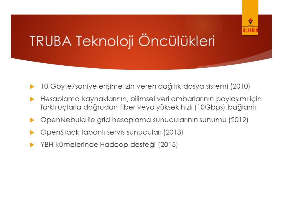 TRUBA Teknoloji Öncülükleri  10 Gbyte/saniye erişime izin veren dağıtık dosya sistemi (2010)  Hesaplama kaynaklarının, bilimsel veri ambarlarının pa