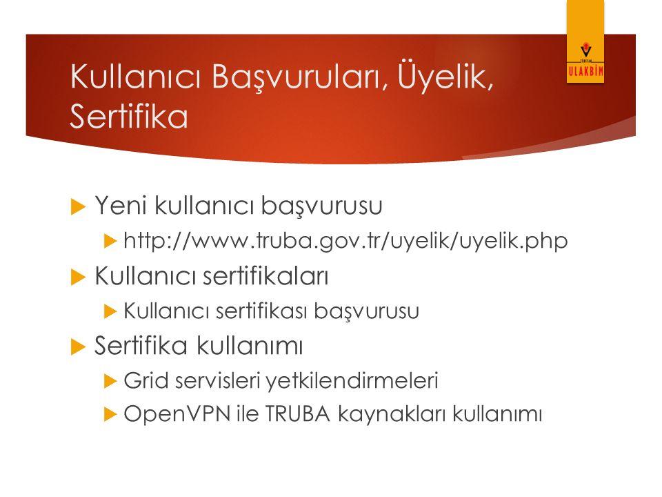 Kullanıcı Başvuruları, Üyelik, Sertifika  Yeni kullanıcı başvurusu  http://www.truba.gov.tr/uyelik/uyelik.php  Kullanıcı sertifikaları  Kullanıcı