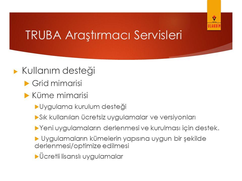TRUBA Araştırmacı Servisleri  Kullanım desteği  Grid mimarisi  Küme mimarisi  Uygulama kurulum desteği  Sık kullanılan ücretsiz uygulamalar ve ve