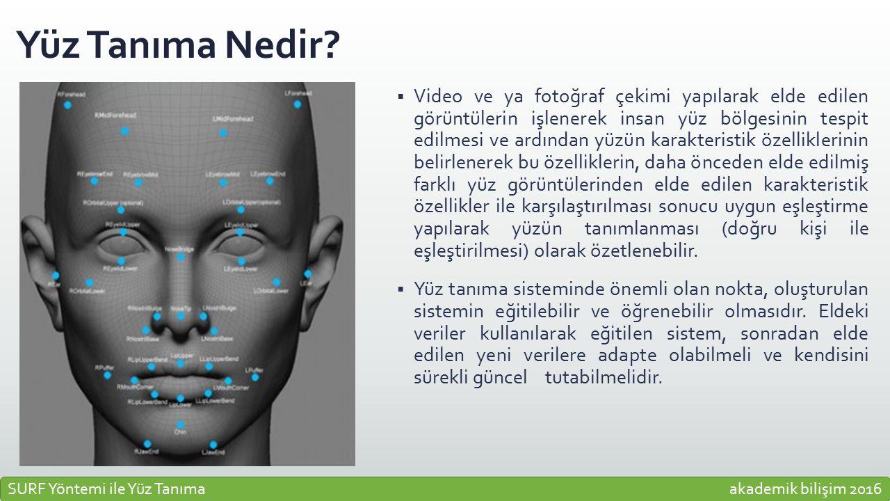 Yüz Tanıma Nedir?  Video ve ya fotoğraf çekimi yapılarak elde edilen görüntülerin işlenerek insan yüz bölgesinin tespit edilmesi ve ardından yüzün ka