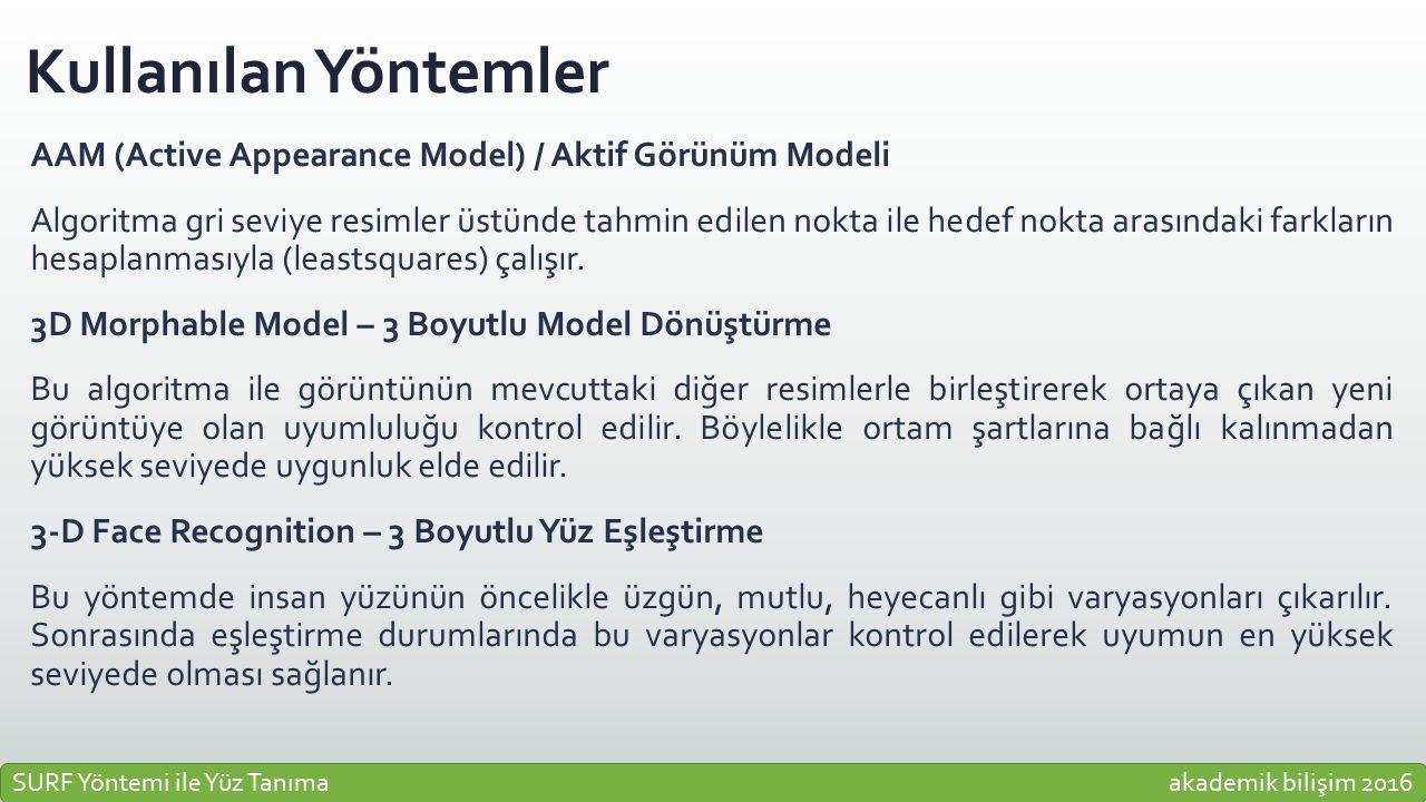 Kullanılan Yöntemler AAM (Active Appearance Model) / Aktif Görünüm Modeli Algoritma gri seviye resimler üstünde tahmin edilen nokta ile hedef nokta ar