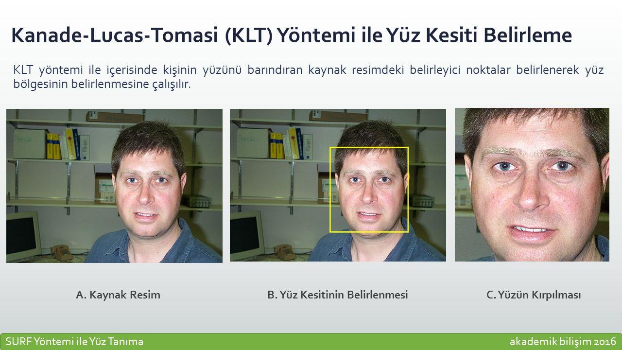 Kanade-Lucas-Tomasi (KLT) Yöntemi ile Yüz Kesiti Belirleme KLT yöntemi ile içerisinde kişinin yüzünü barındıran kaynak resimdeki belirleyici noktalar