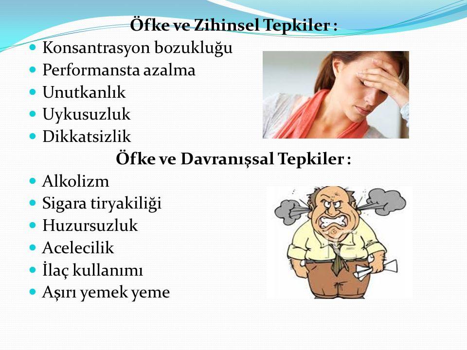 Öfke ve Zihinsel Tepkiler : Konsantrasyon bozukluğu Performansta azalma Unutkanlık Uykusuzluk Dikkatsizlik Öfke ve Davranışsal Tepkiler : Alkolizm Sigara tiryakiliği Huzursuzluk Acelecilik İlaç kullanımı Aşırı yemek yeme